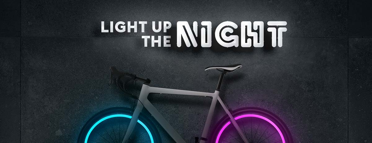 Light up the night, bicycle with glowing wheels