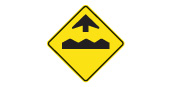 Bump or uneven pavement ahead road safety sign