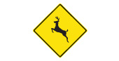 Caution deer road safety sign