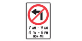 No left turn road safety sign