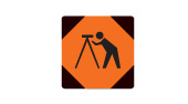 Caution construction crew road safety sign