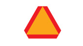 Slow moving vehicle ahead safety sign