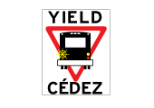 Yield to the bus road safety sign