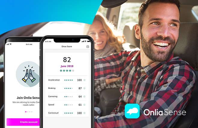 Image of Onlia Sense Safe Driving app overlayed with image of couple driving in car