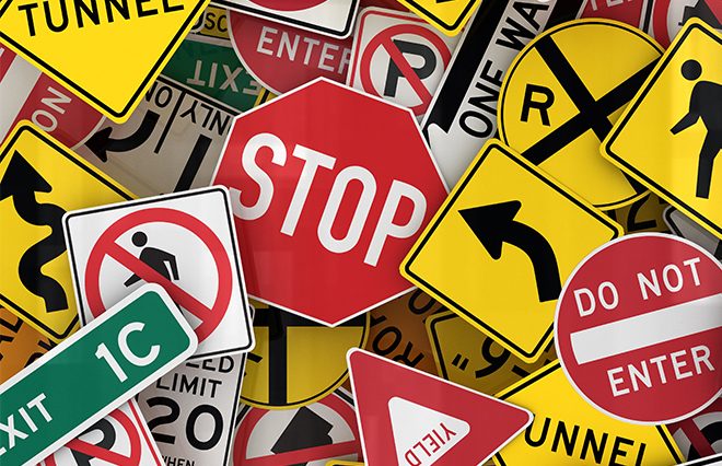 Image of many road safety signs