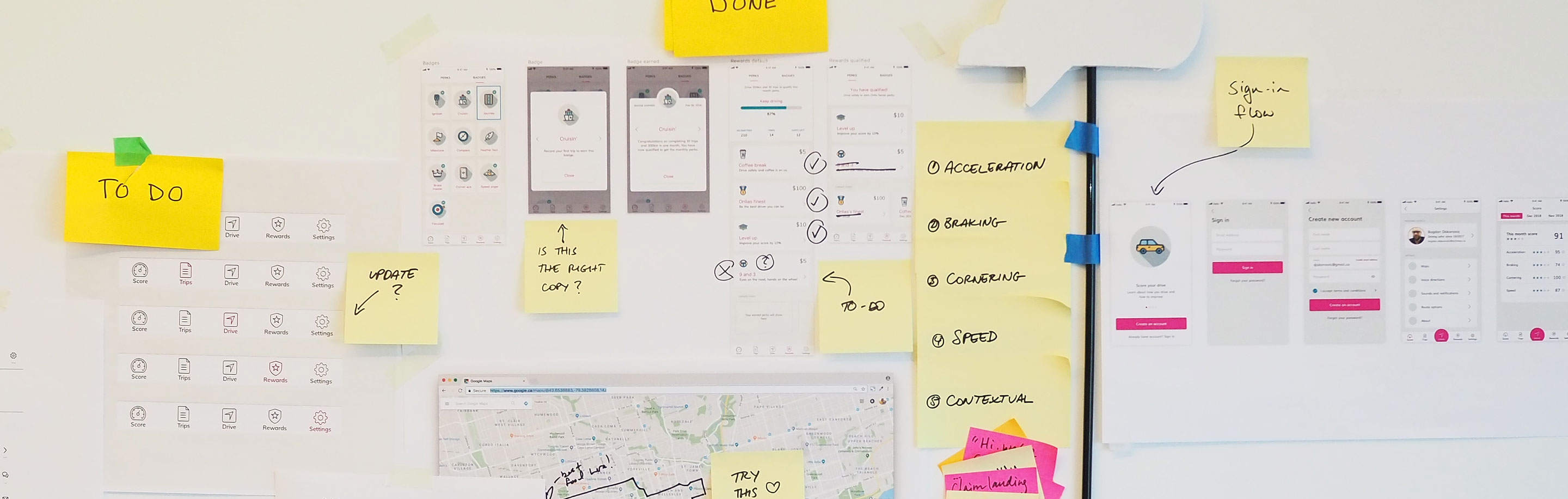 Image of brainstorming and app development scratch notes