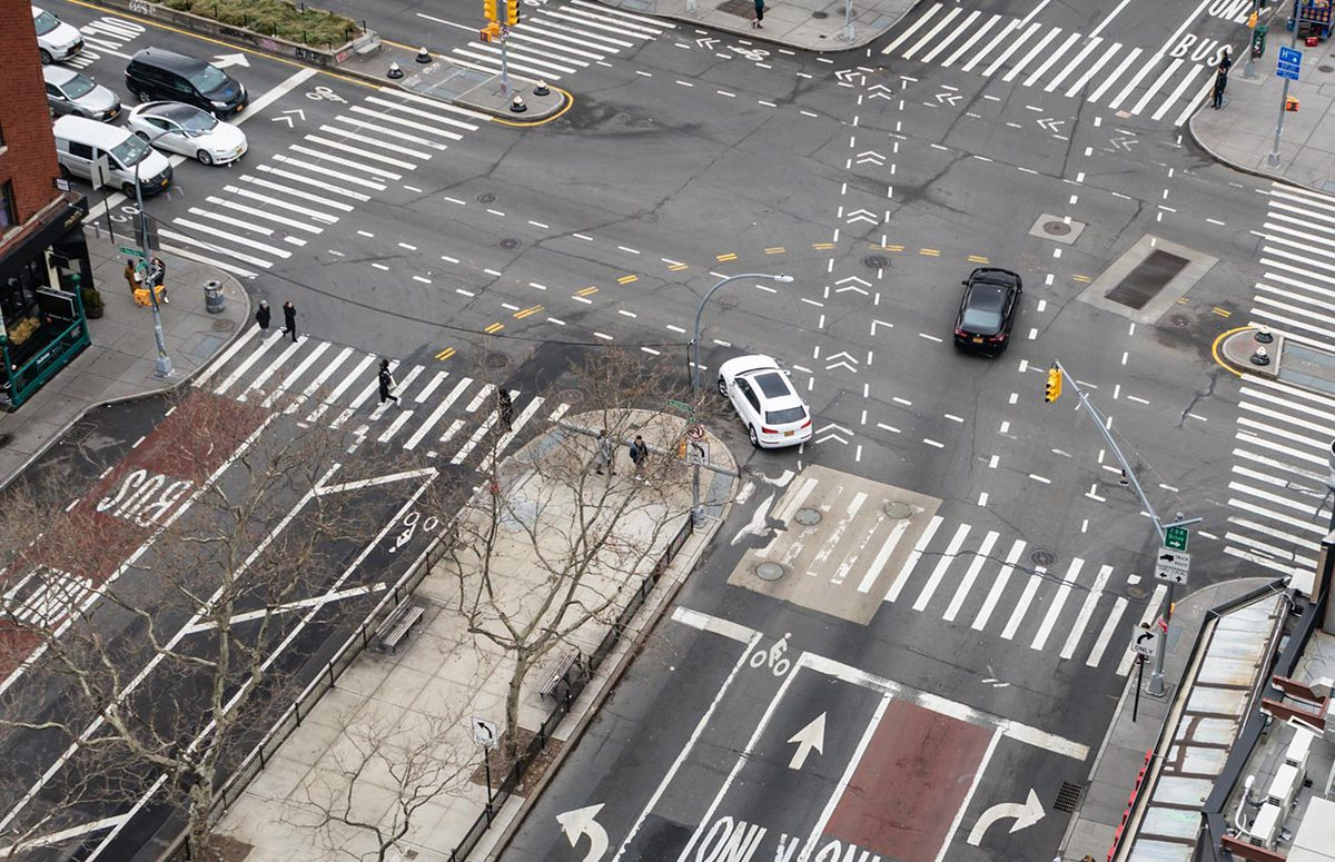 Bird's eye view of an intersection