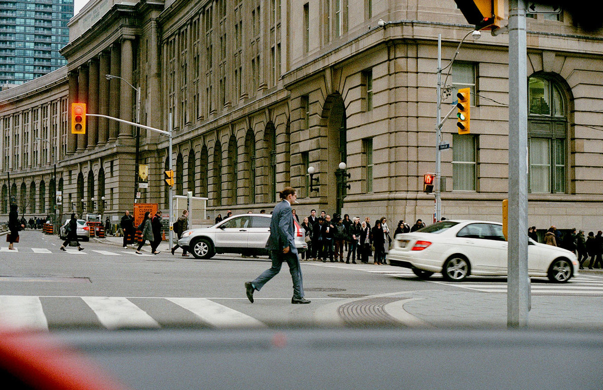 People crossing at an intersection