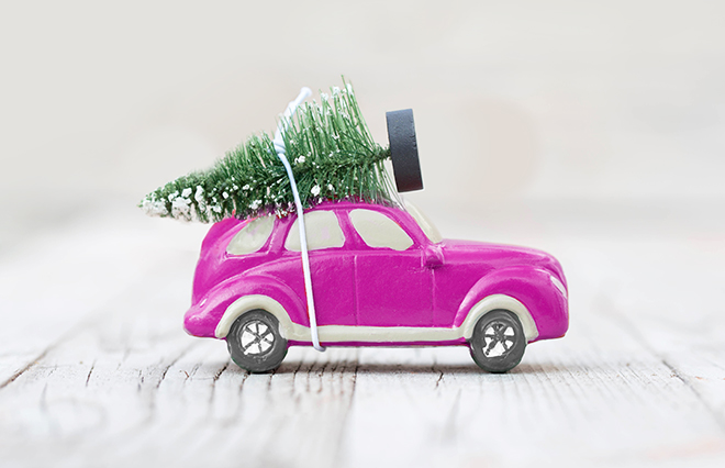 An Onlia pink toy car with a toy tree safely tied to the roof