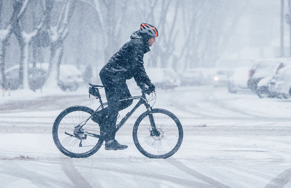 Person biking in the winter