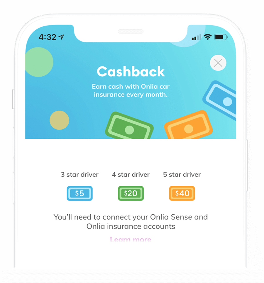 A phone screen showing cashback rewards with the Onlia Sense app.