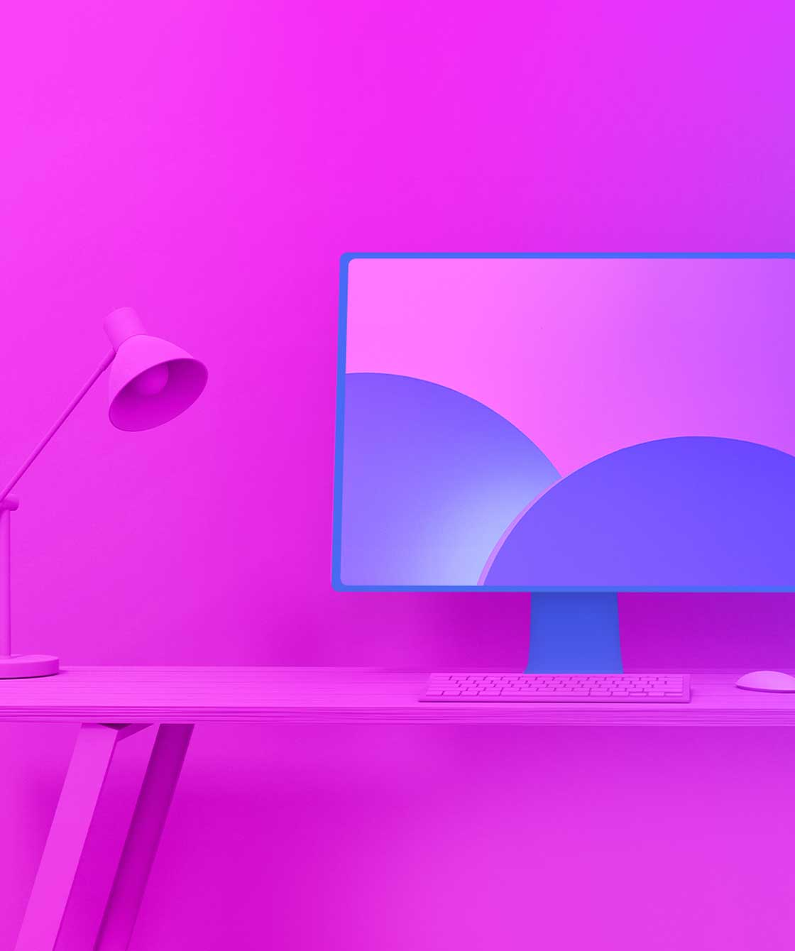 Minimalist office space with a desk and computer, shaded in pink.