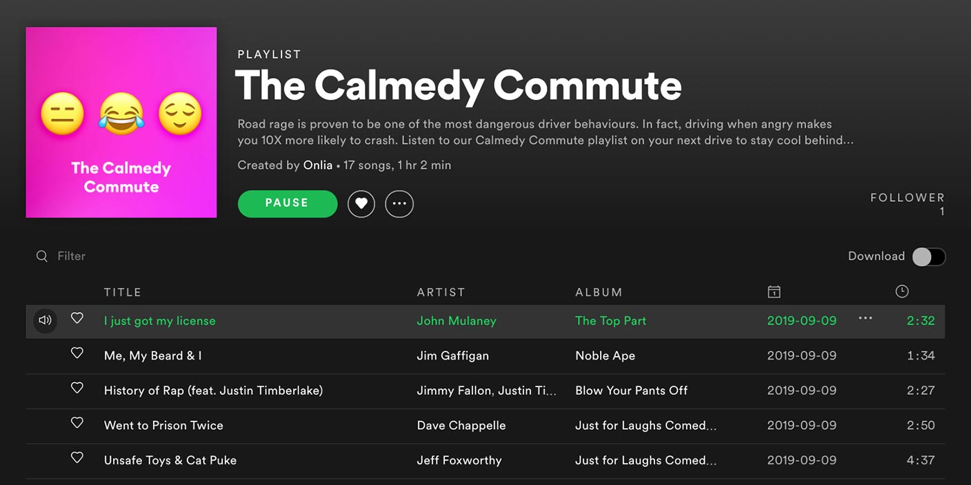 Calmedy Commute Spotify Playlist
